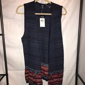 Chaps Patterned Sleeveless Sweater Cover-Up